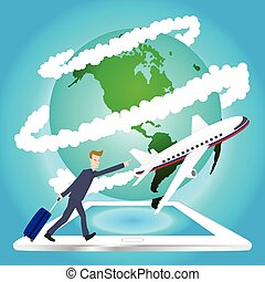 viaggiare, aeroplano, mondo, intorno