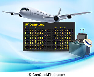 viaggiare, airline., vettore, asse, fondo, meccanico, partenze