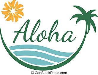 viaggiare, albero, tropicale, vettore, disegno, sagoma, palma