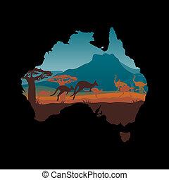 viaggiare, australia, disegno, sagoma