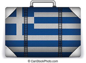 viaggiare, bandiera grecia, vacanza, bagaglio