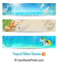 viaggiare, bandiere, con, tropicale, natura