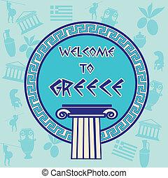 viaggiare, benvenuto, adesivo, grecia