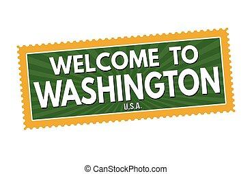 viaggiare, benvenuto, washington, sticke