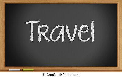viaggiare, blackboard., scritto