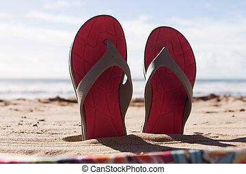 viaggiare, buffetto, sabbia, fondo, paio, flops