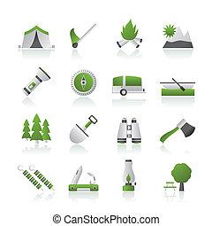 viaggiare, campeggio, turismo, icone
