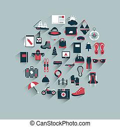 viaggiare, cerchio, concept., icona