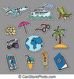 viaggiare, concetto, adesivi
