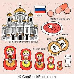viaggiare, concetto, di, russia