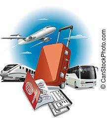 viaggiare, concetto, illustrazione