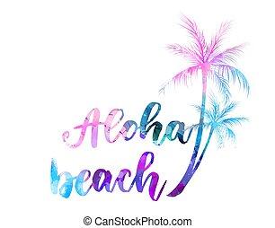 viaggiare, concetto, spiaggia, aloha