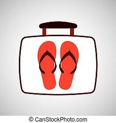 viaggiare, concetto, spiaggia, flops vibrazione