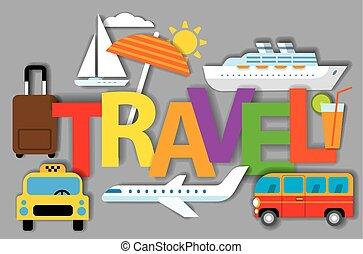 viaggiare, concetto, tesserati magnetici