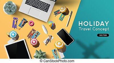 viaggiare, concetto, vacanza, fondo