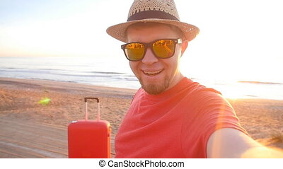 viaggiare, coppia, presa, uno, selfie, telefono, spiaggia