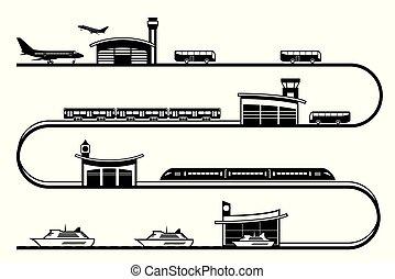 viaggiare, differente, trasporto, stazioni
