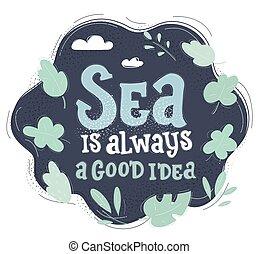 viaggiare, disegnato, fondo., design., illustrazione, scuro, vettore, nautico, parole, mare, mano