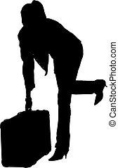 viaggiare, donna, silhouette
