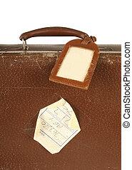 viaggiare, etichetta, retro, valigia