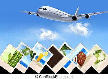 viaggiare, foto, holidays., vettore, fondo, aeroplano, concept.