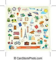 viaggiare, illustrazione, icone