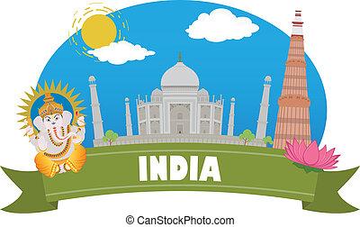 viaggiare, india., turismo