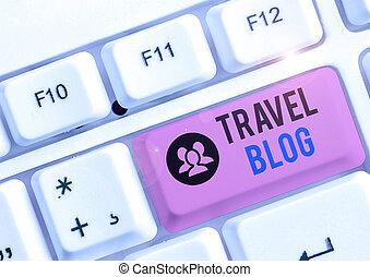 viaggiare, intorno, pensieri, showcasing, esperienze, concettuale, foto, mano, blog., condivisione, world., scrittura, esposizione, locali, affari