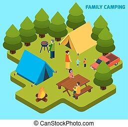 viaggiare, isometrico, campeggio, composizione