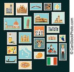 viaggiare, italia, stamps.
