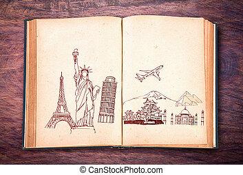 viaggiare, libro, (japan, york