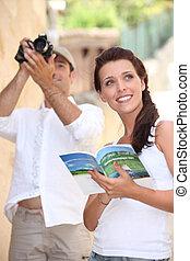 viaggiare, macchina fotografica, guida, turisti