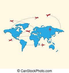 viaggiare, mappa, mondo, aeroplani