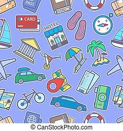 viaggiare, modello carta parati, seamless, icone