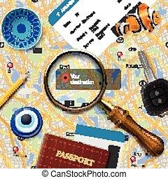 viaggiare, navigazione, concept.