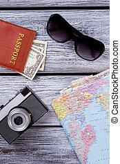 viaggiare, oggetti, flatlay.