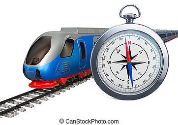 viaggiare, rotaia, alto, interpretazione, treno, bussola, velocità, concept., 3d