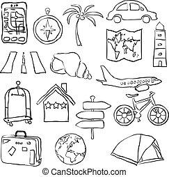 viaggiare, schizzo, immagini