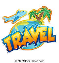 viaggiare, segno, con, palme, e, aeroplano, bianco, fondo