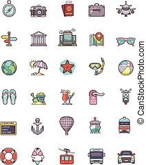 viaggiare, set, icona