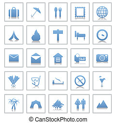 viaggiare, set, icone