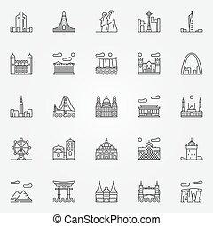 viaggiare, set, limiti, icone