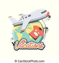 viaggiare, set, vacanze, icone