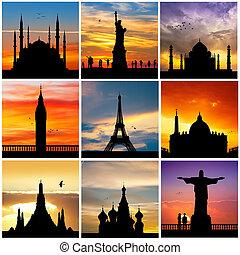 viaggiare, silhouette, destinazioni