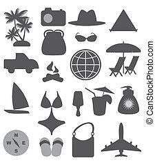 viaggiare, spiaggia, icone