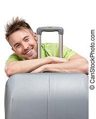 viaggiare, sporgente, turista, valigia
