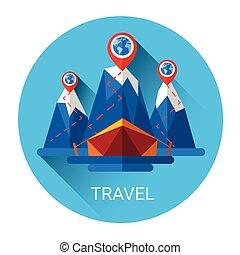 viaggiare, tenda, turismo, campeggio, icona