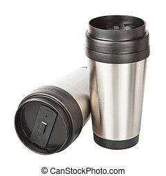 viaggiare, thermos-cup., due, closeup.