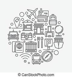 viaggiare turismo, illustrazione