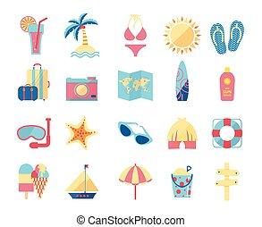 viaggiare turismo, set., icone